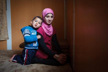 Sister and brother Syrian refugees.