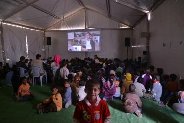 "Mercy Corps and UNICEF have set up a ""cinema tent"" in Za'atari camp, where kid-friendly movies are shown daily."