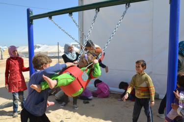 School is offered to children in Za'atari, but they still have a lot of free time. Mercy Corps, in partnership with UNICEF, has constructed and is operating five playgrounds and multipurpose sports courts in the camp.