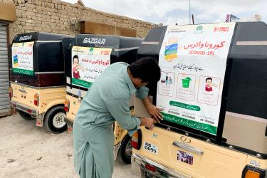 In Pakistan, our teams are posting public awareness messages regarding COVID-19 on rickshaw vehicles.