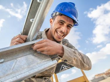 Young jordanian construction worker.