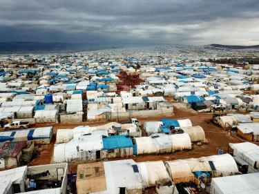Aerial view of refugee camp.